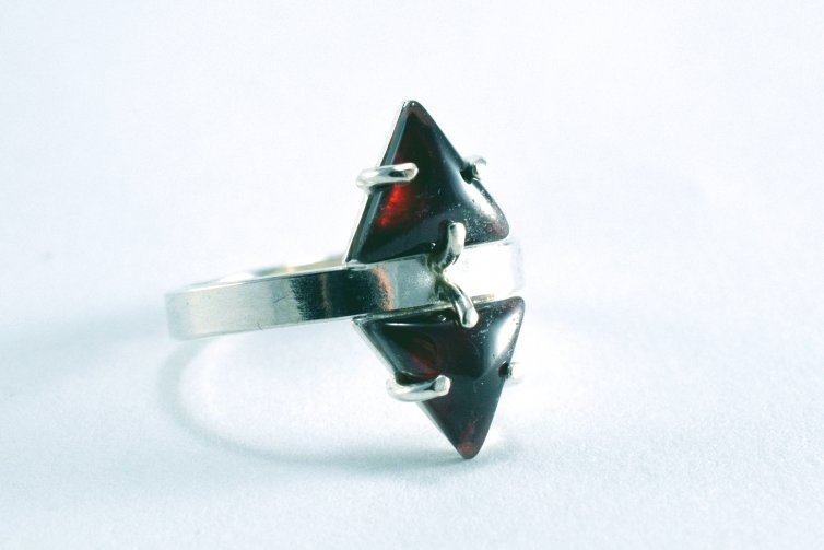 Double Triangle Garnet Ring