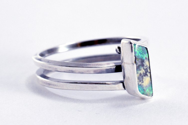 Rectangle Australian Opal Ring